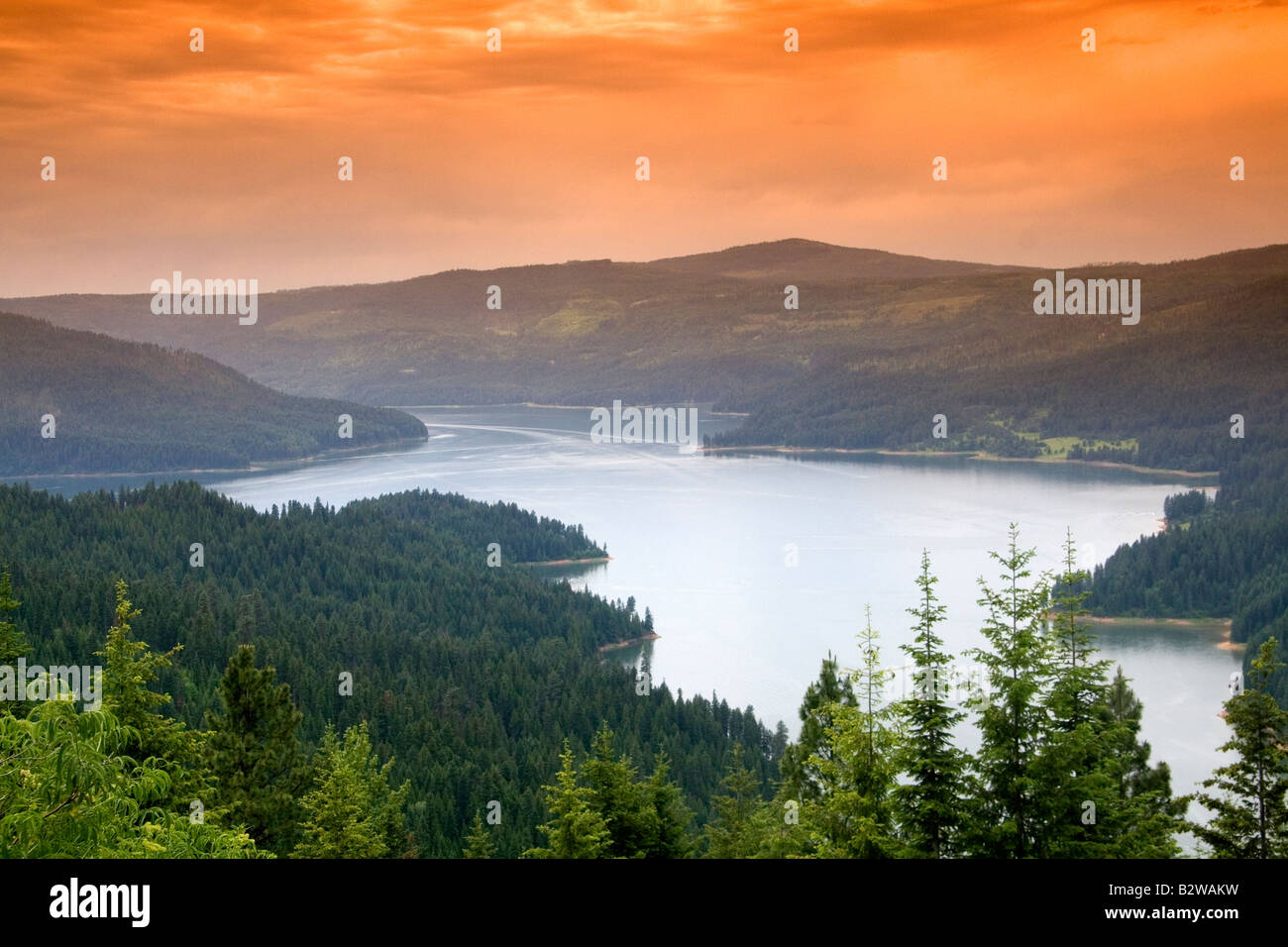 Dworshak Reservoir in Clearwater County Idaho - Stock Image