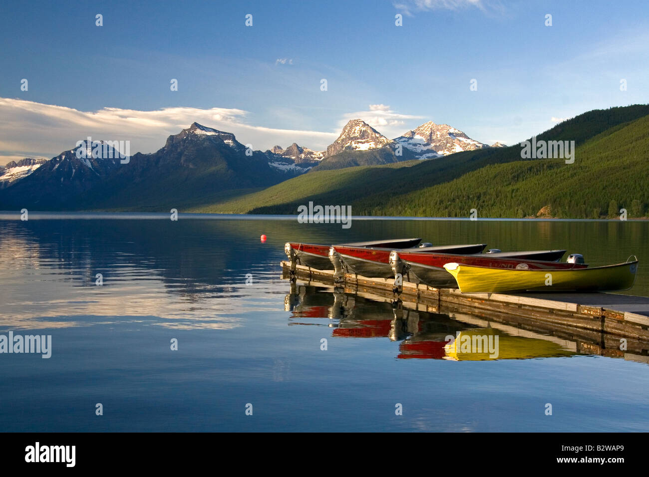 Lake McDonald is the largest lake in Glacier National Park Montana - Stock Image
