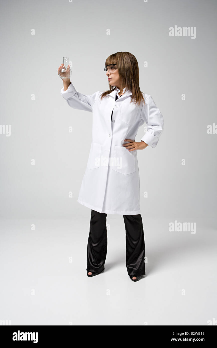 Scientist holding flask Stock Photo