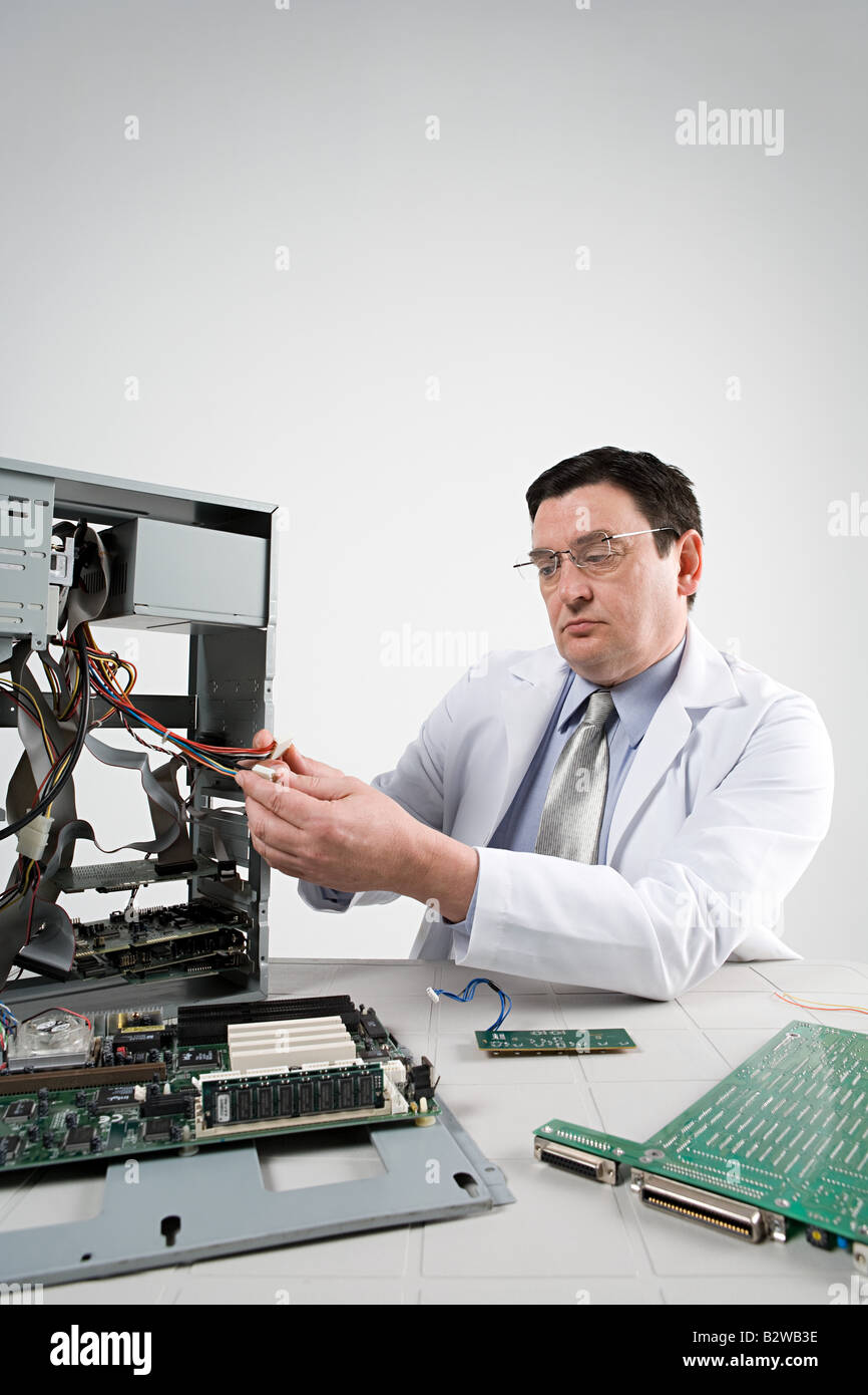 Scientist with computer - Stock Image