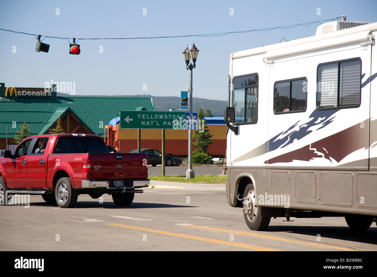 Traffic in West Yellowstone Montana - Stock Image