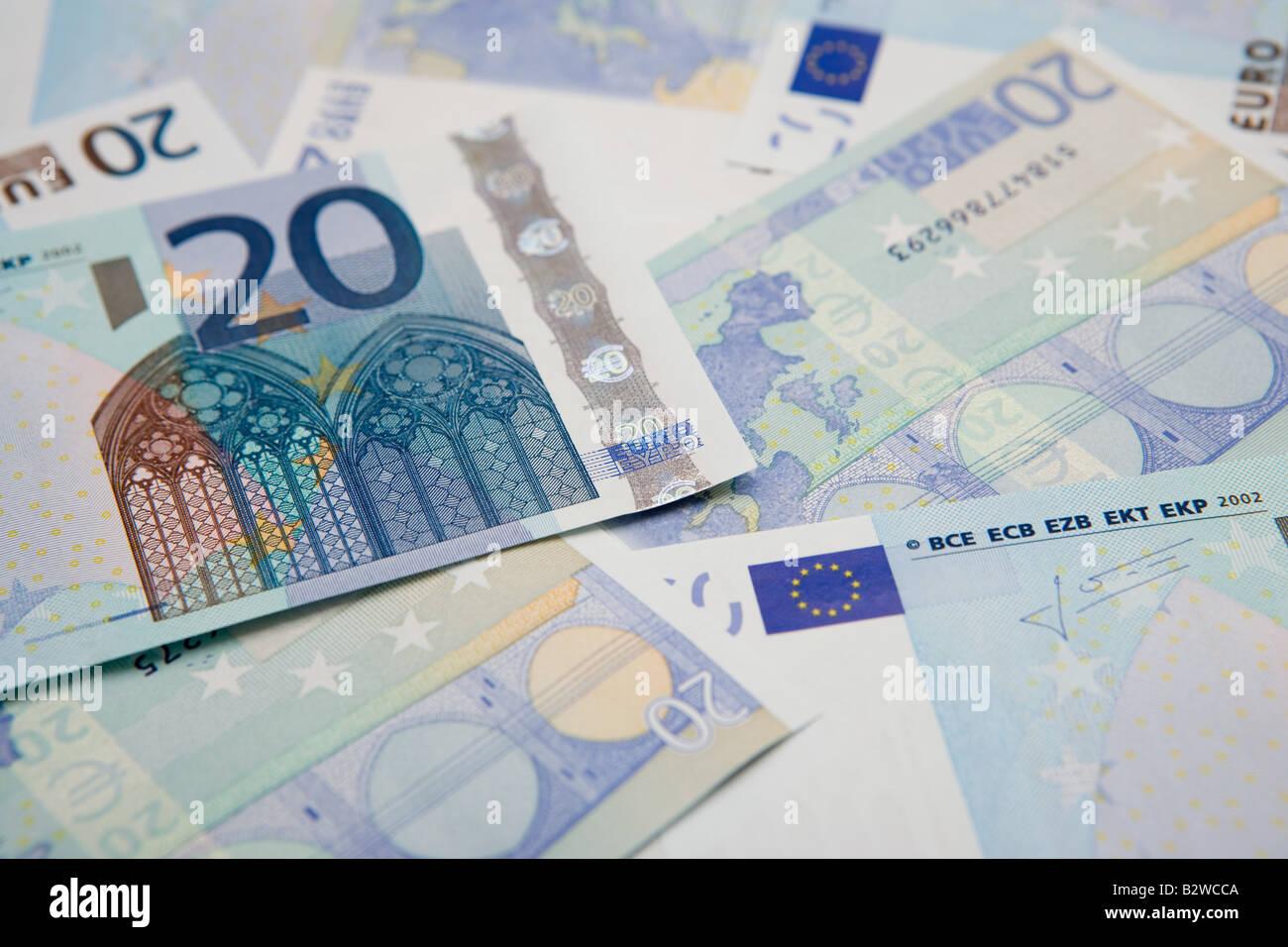 Twenty euro notes - Stock Image