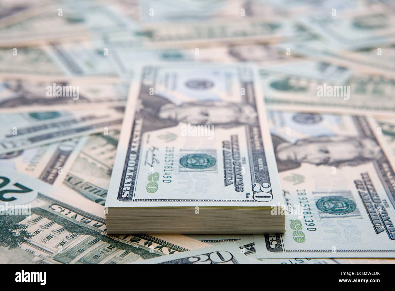 Twenty dollar bills - Stock Image