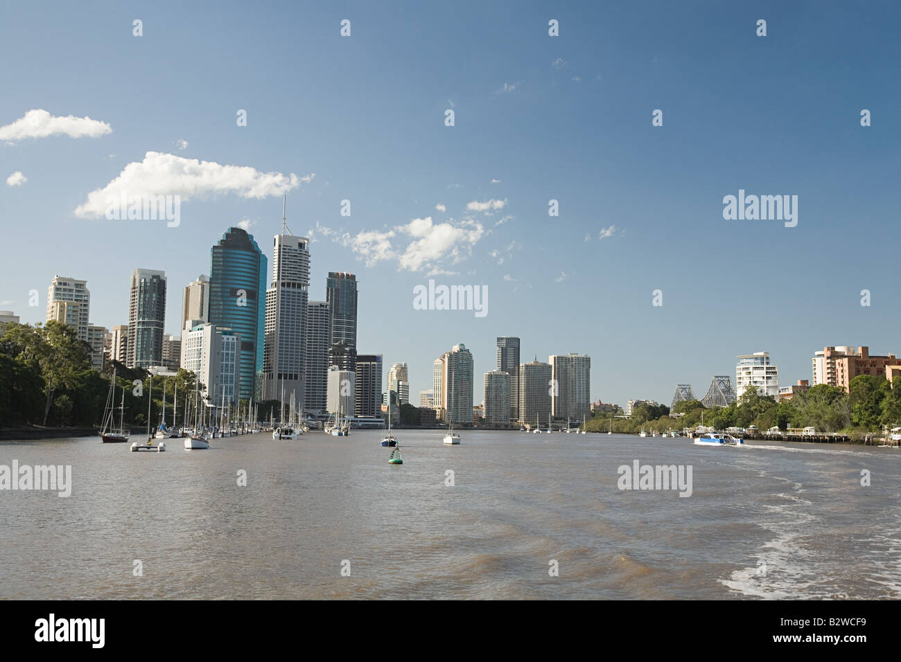 Brisbane river and sky scrapers - Stock Image