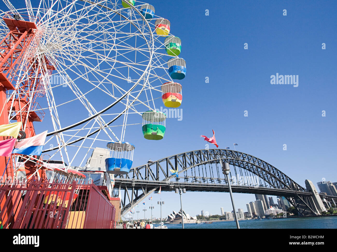 A ferris wheel and sydney harbour bridge - Stock Image