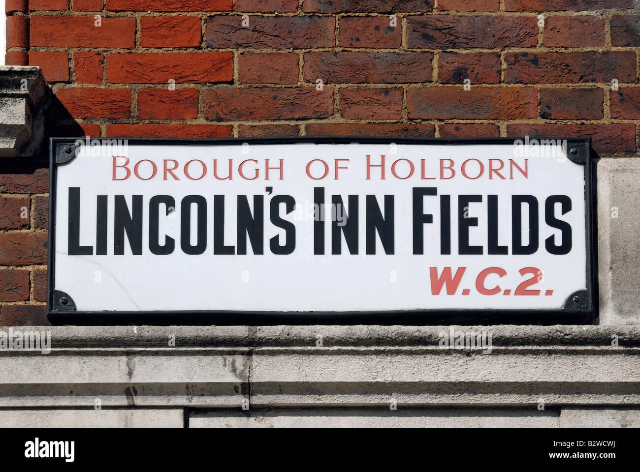 Lincoln's Inn Fields road sign - Stock Image