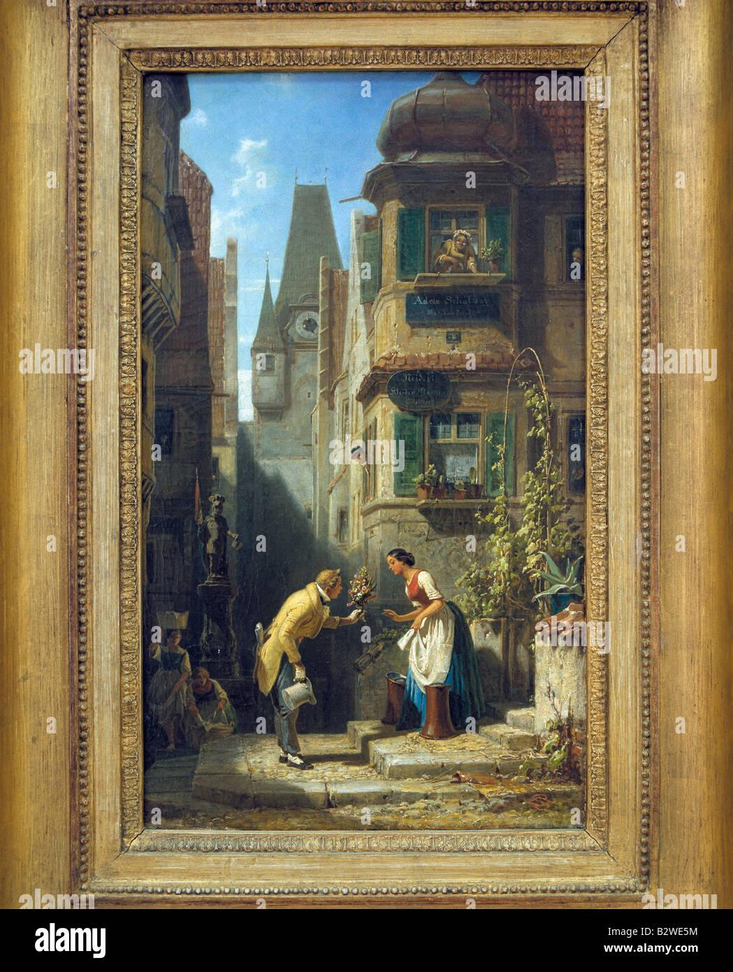 Ausstellung im Museum Folkwang, Gemaelde 'Der ewige Hochzeiter', gemalt 1840 bis 1850 von Carl Spitzweg, - Stock Image