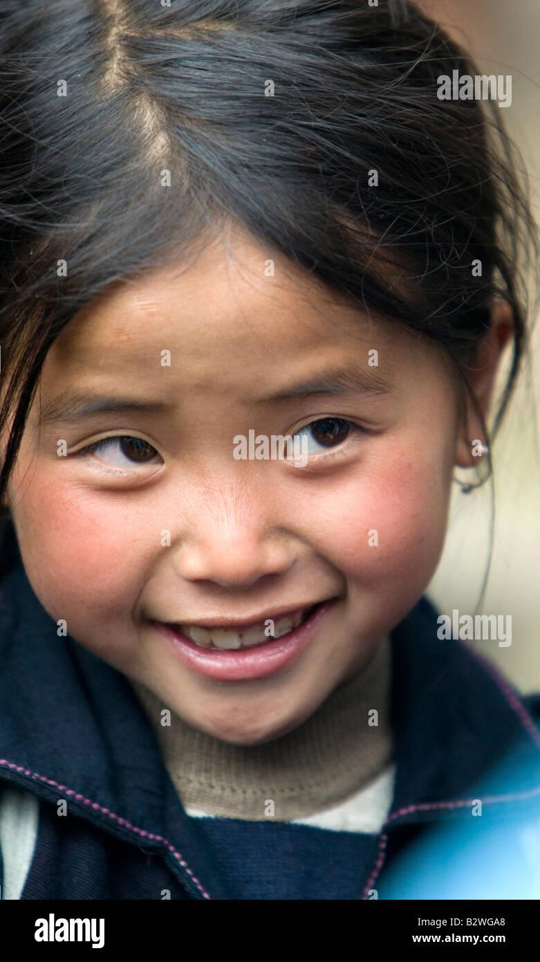 Black Hmong hilltribe girl Sapa Vietnam - Stock Image