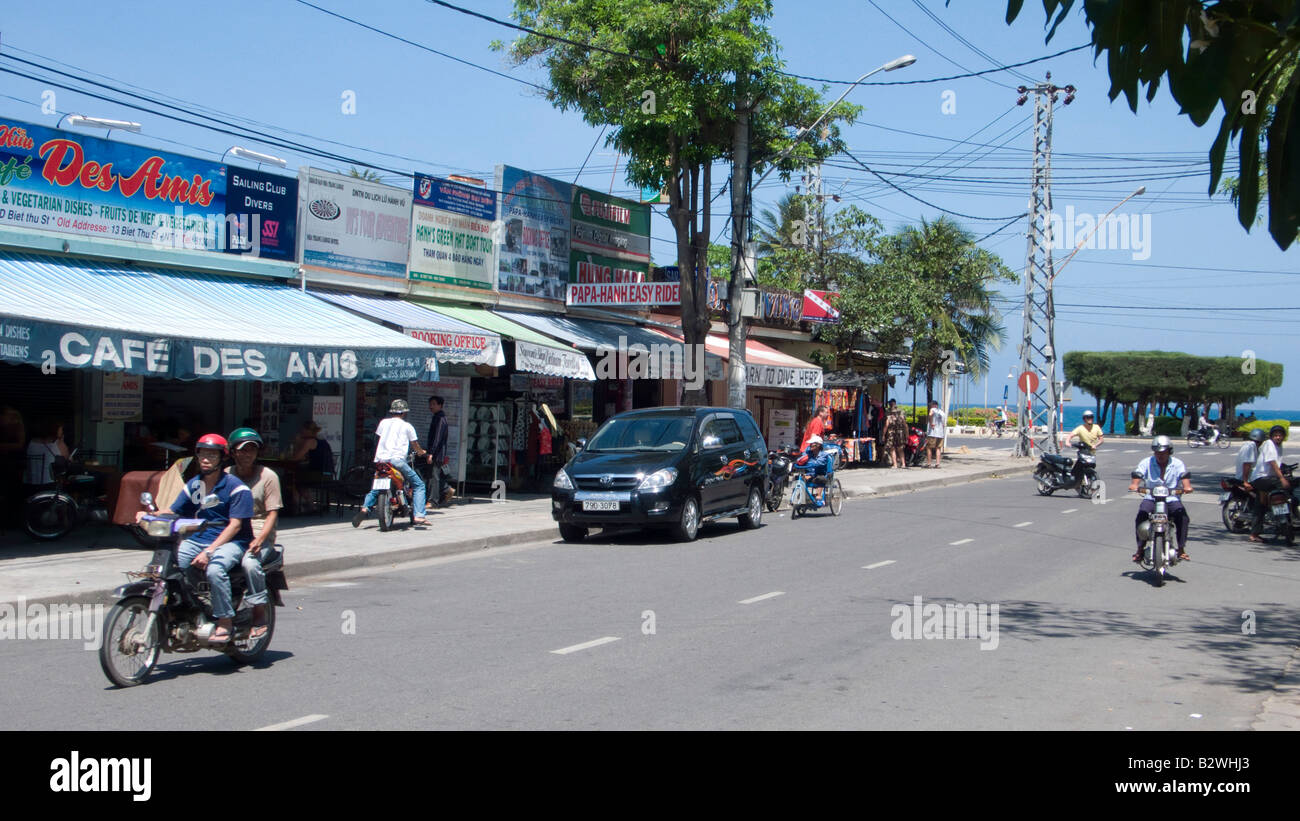 Street leading to beach Nha Trang resort Vietnam Stock Photo