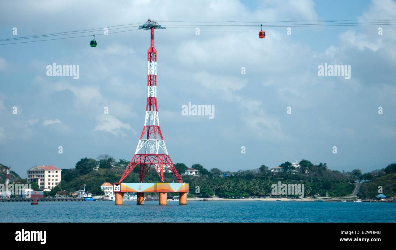 Cable car to Vinpearl resort island Nha Trang Vietnam - Stock Image