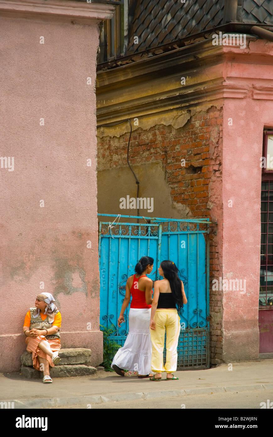 Two generations of women near Gara du Nord railway station in Bucharest Romania Europe - Stock Image