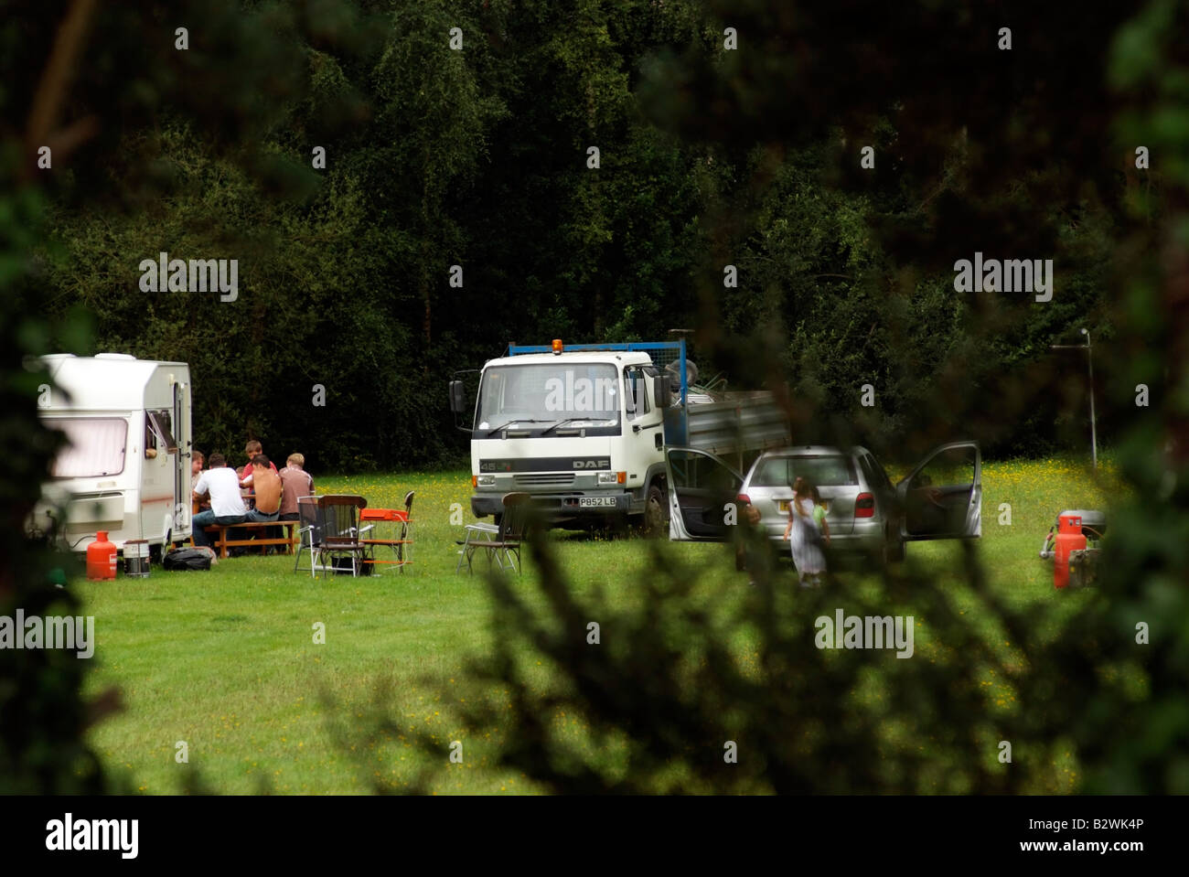 Unwanted travellers in farmers field Ashley Heath Hampshire Dorset borders England UK - Stock Image