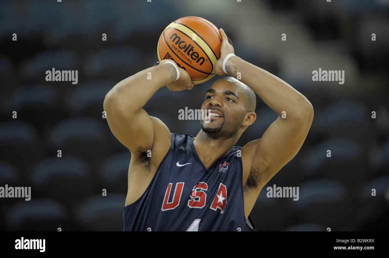 U.S. men senior basketball team player Carlos Boozer attends a training session in Macau, before the Beijing 2008 - Stock Image