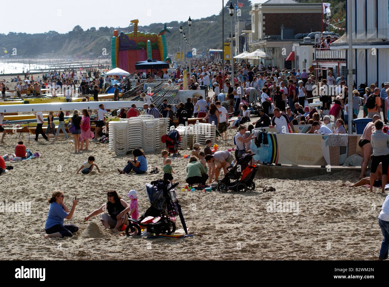 Crowded seaside resort the seafront at Bournemouth southern England UK - Stock Image