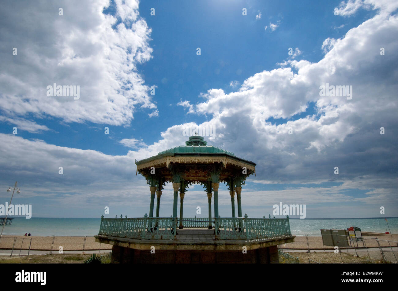 The decaying rusting neglected Victorian bandstand on the promenade of Brighton and Hove - Stock Image