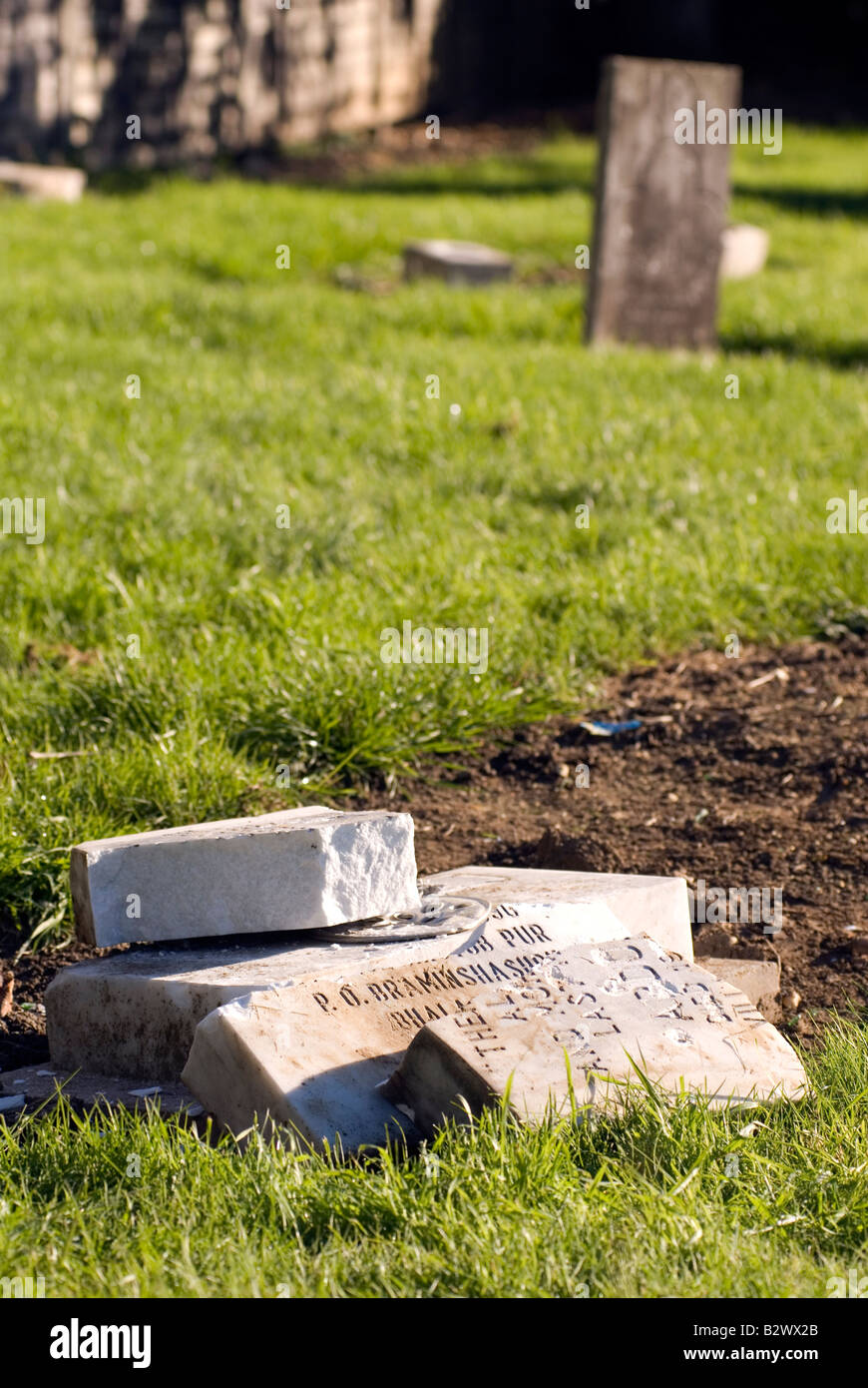 Racist vandals desecrated 11 Muslim Graves in St Mary s Church Cemetery in Church Green Road Bletchley, Milton Keynes, - Stock Image