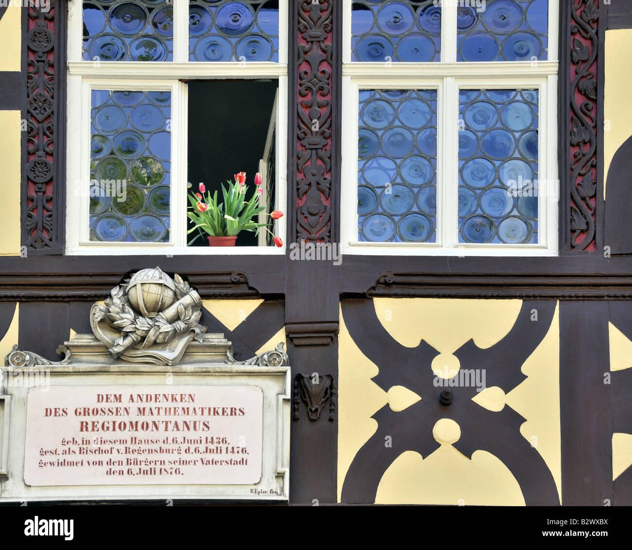 DE - BAVARIA - UPPER FRANCONIA: Birthplace of Regiomontanus (Mathematician) in Königsberg-in-Bayern - Stock Image
