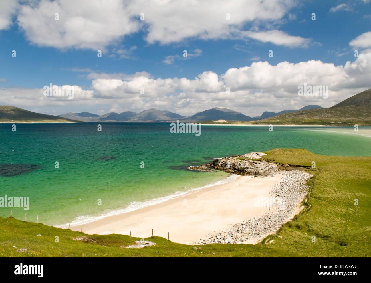 View to Seilebost beach, Isle of Harris, Hebrides, Scotland, UK - Stock Image