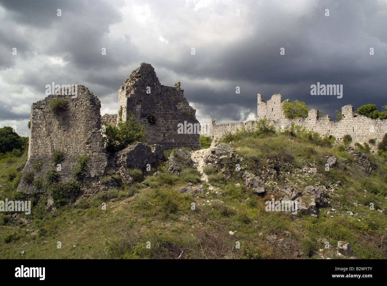 Ruins of Vrana fortress of Knights Templar, where crown of Croatian Kings once kept - Stock Image