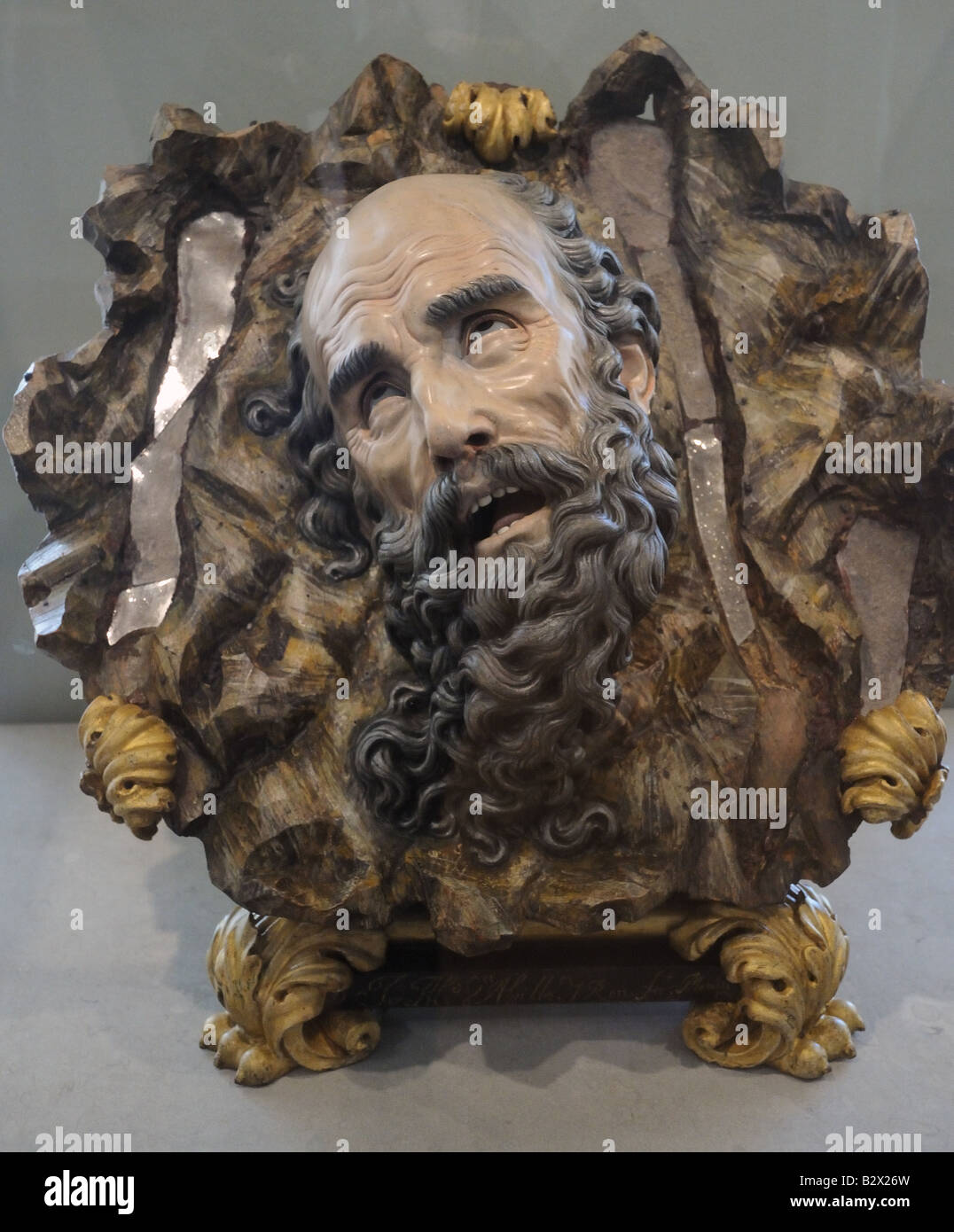 Wood polychrome carving in Museo Nacional de Escultura Policromada National Museum of Polychrome Sculpture Valladolid - Stock Image