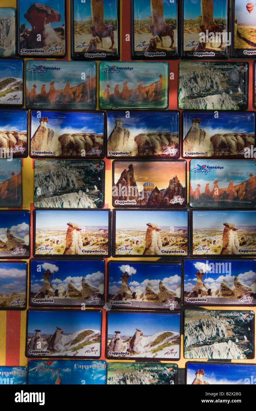 Postcards for sale in Goreme, Cappadocia, Anatolia, Turkey, Asia Minor, Eurasia - Stock Image