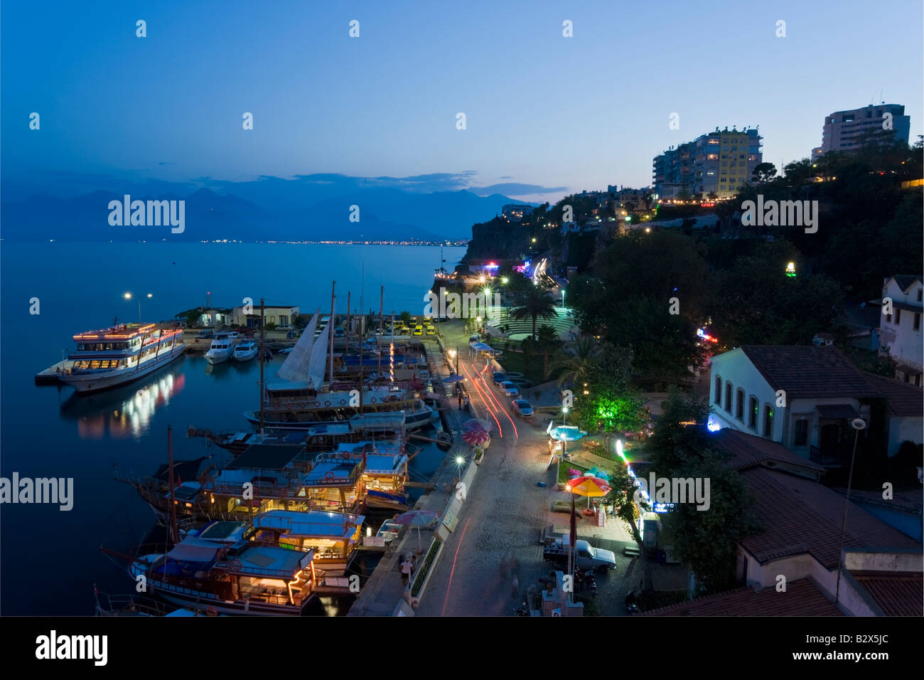 Elevated view at dusk of the Marina and Roman Harbour in Kaleici, Antalya, Anatolia, Turkey, Asia Minor, Asia - Stock Image