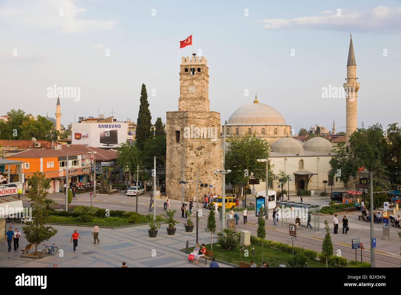 Clocktower Saat Kulesi and Tekeli Memet Pasa Mosque in the historic district of Kaleici, Antalya, Anatolia, Turkey, - Stock Image