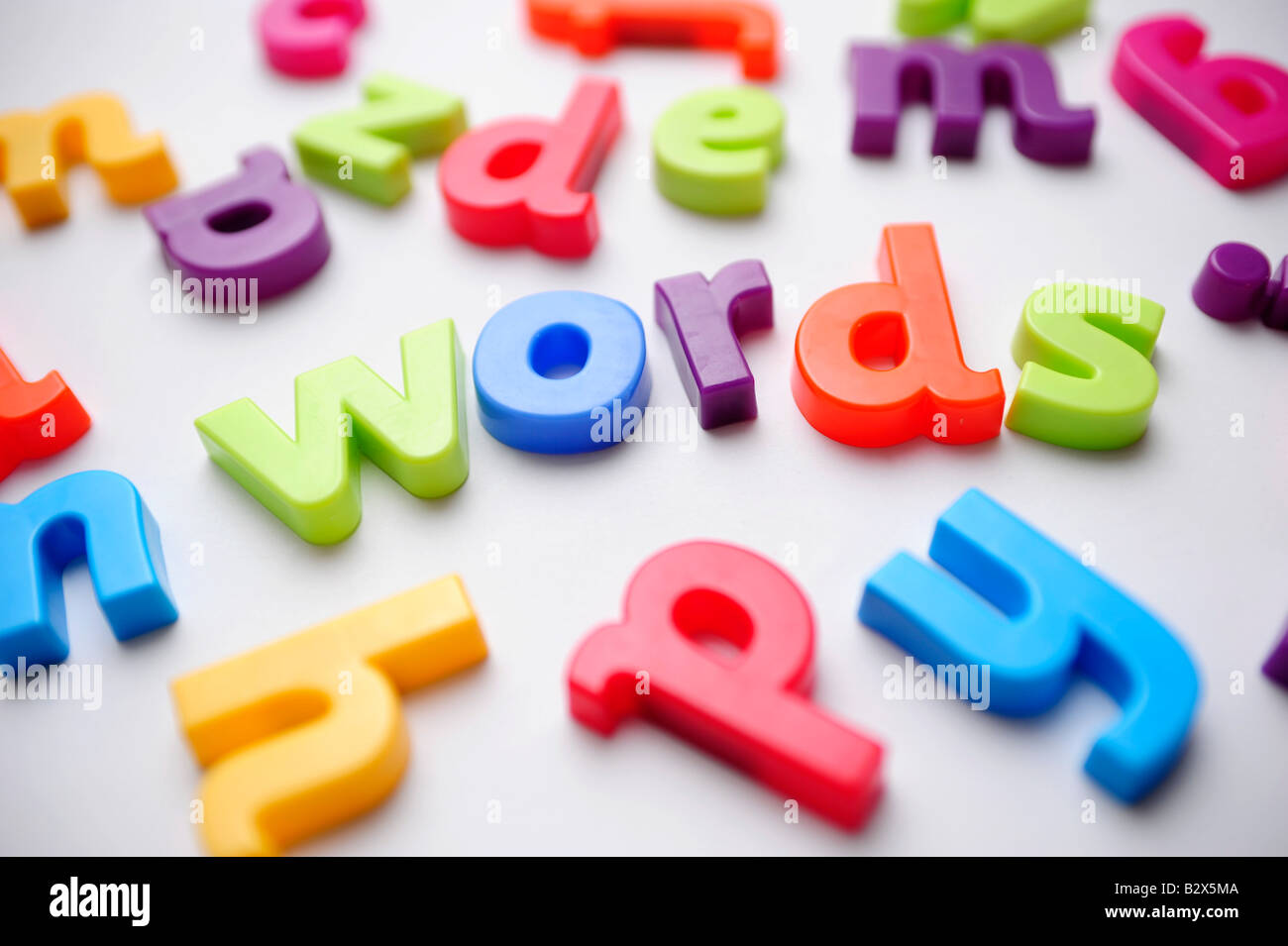 Coloured plastic letters spelling out words to illustrate learning