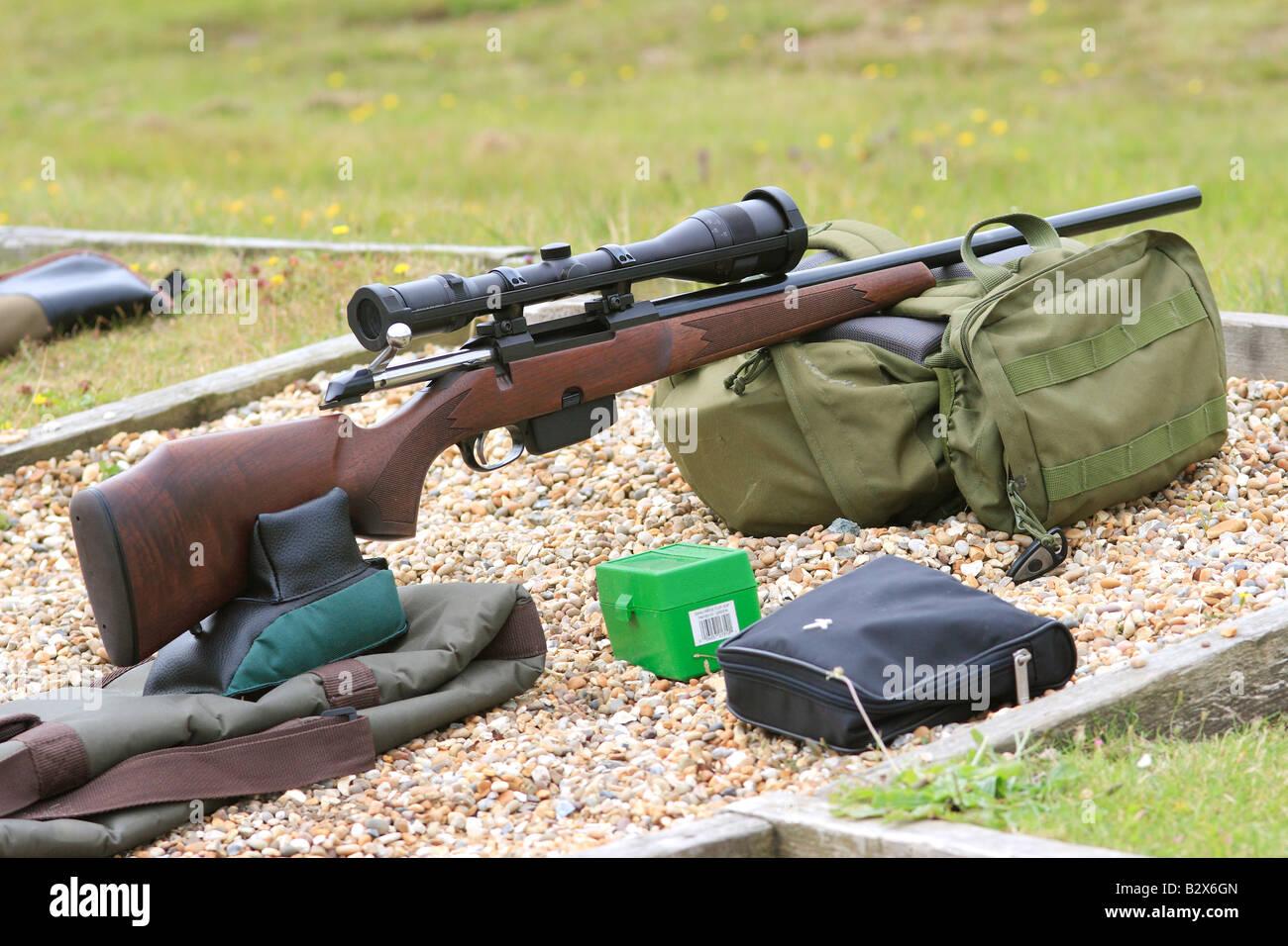 Tikka M595 Bolt Action Rifle at Rifle Range (.243 Calibre) - Stock Image