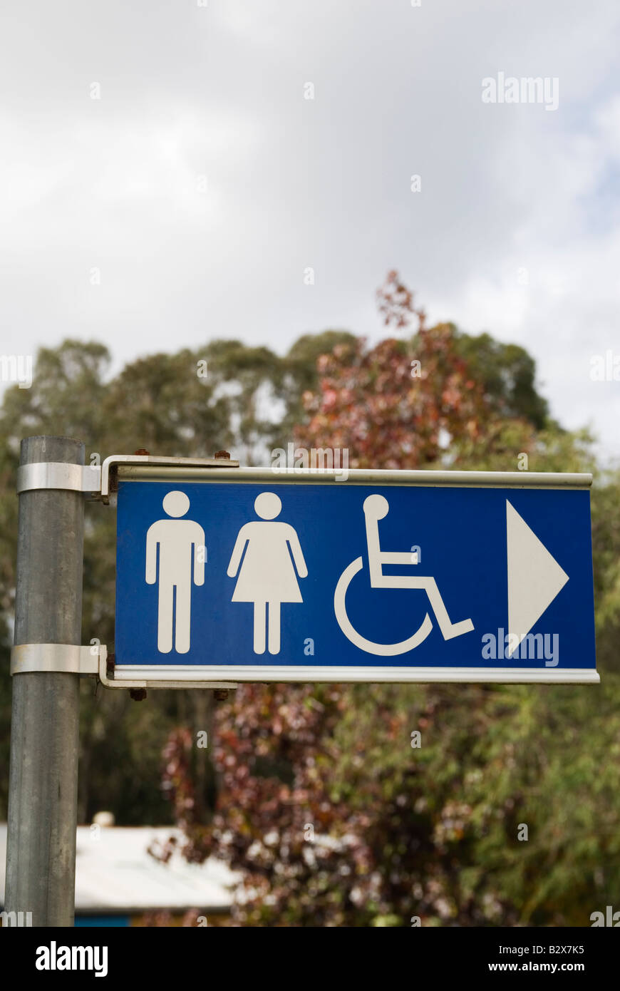 Sign directing people towards the location of public toilets with images of men, women and disabled people - Stock Image