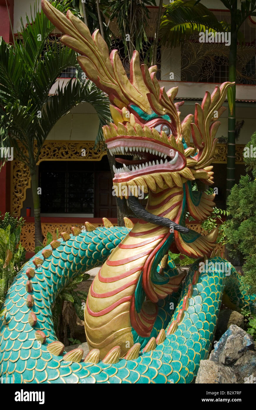 The mythical Naga serpent at the Dhammikarama Burmese Buddhist Temple, Georgetown, Penang, Malaysia - Stock Image