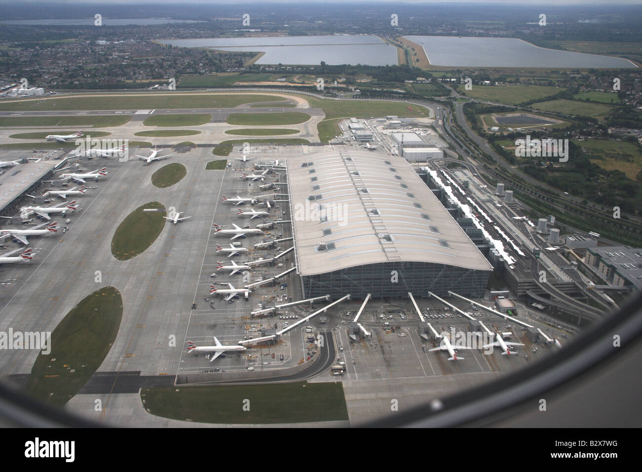 Heathrow airport Terminal 5 areal view - Stock Image
