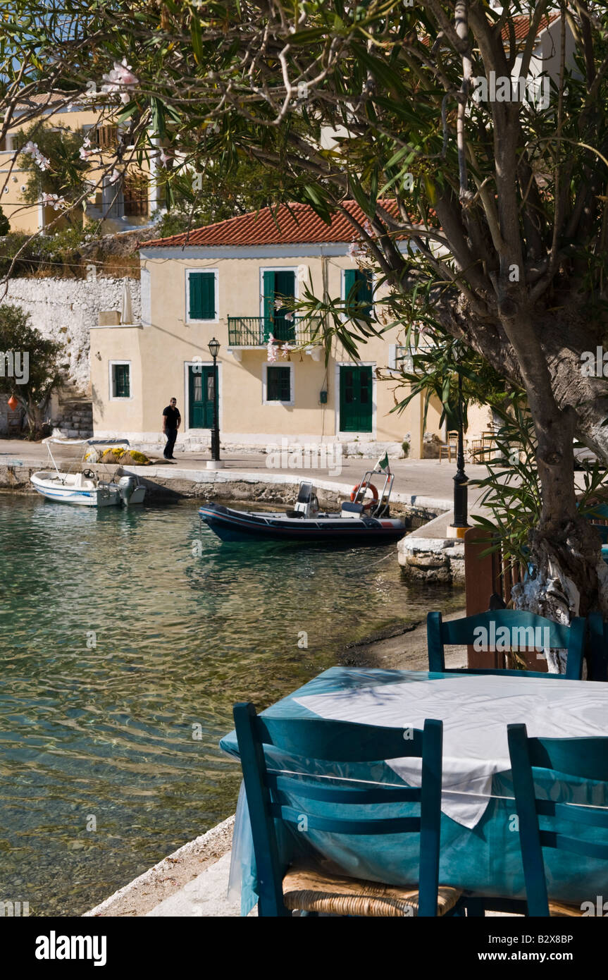 Looking across the harbour in the village of Assos in Northern Cephallonia Greece - Stock Image