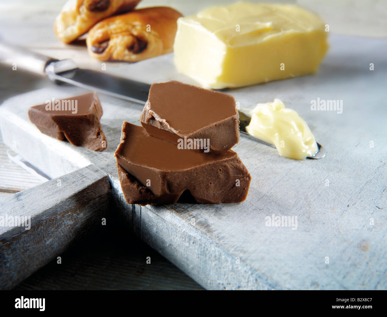 Chocolate all butter Croissants  - pain au chocolate - Stock Image