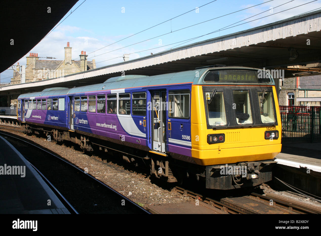 Class 142 diesel multiple unit at Carnforth. - Stock Image