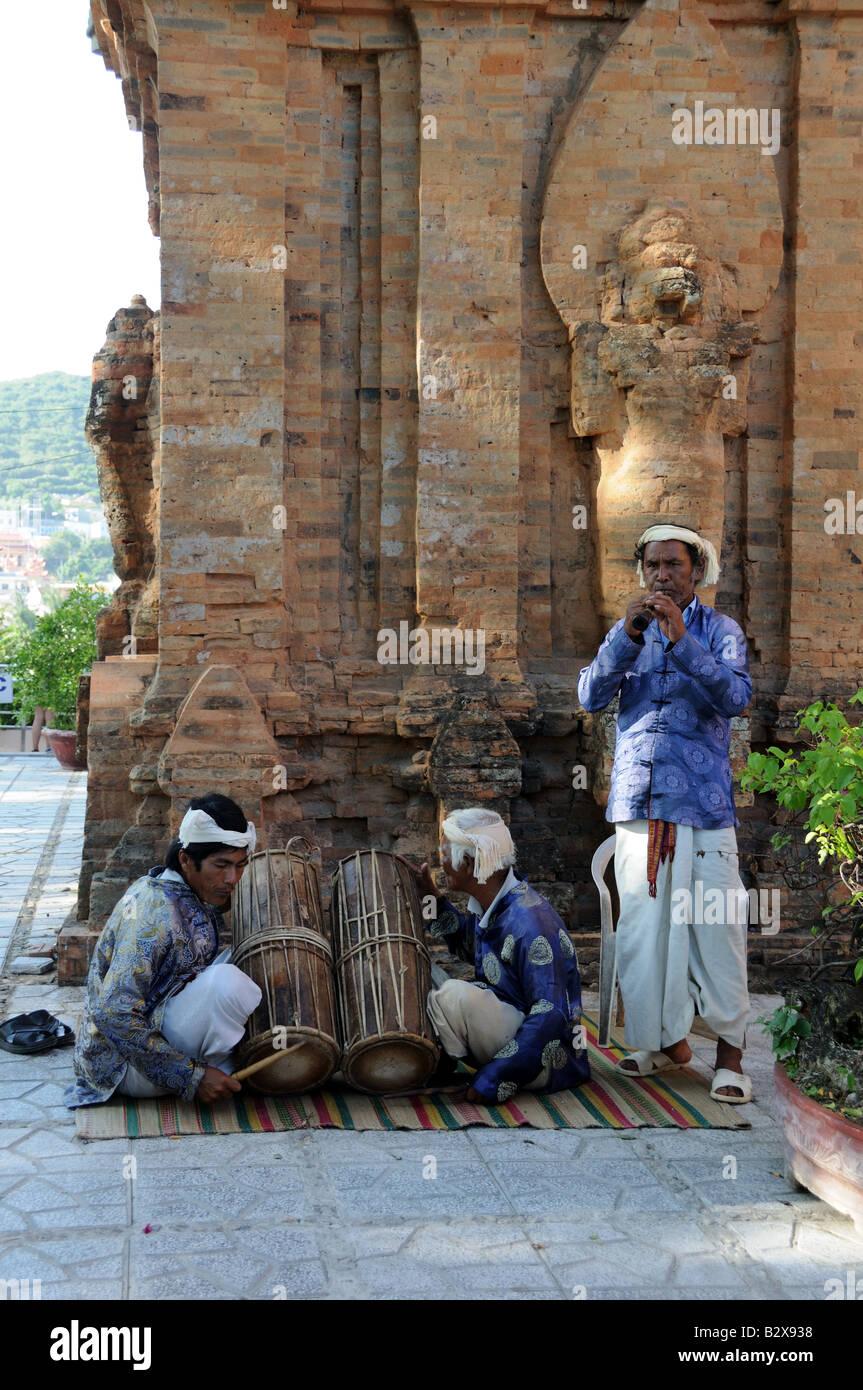 Musicians at the Po Nagar Cham Towers Nha Trang Vietnam - Stock Image