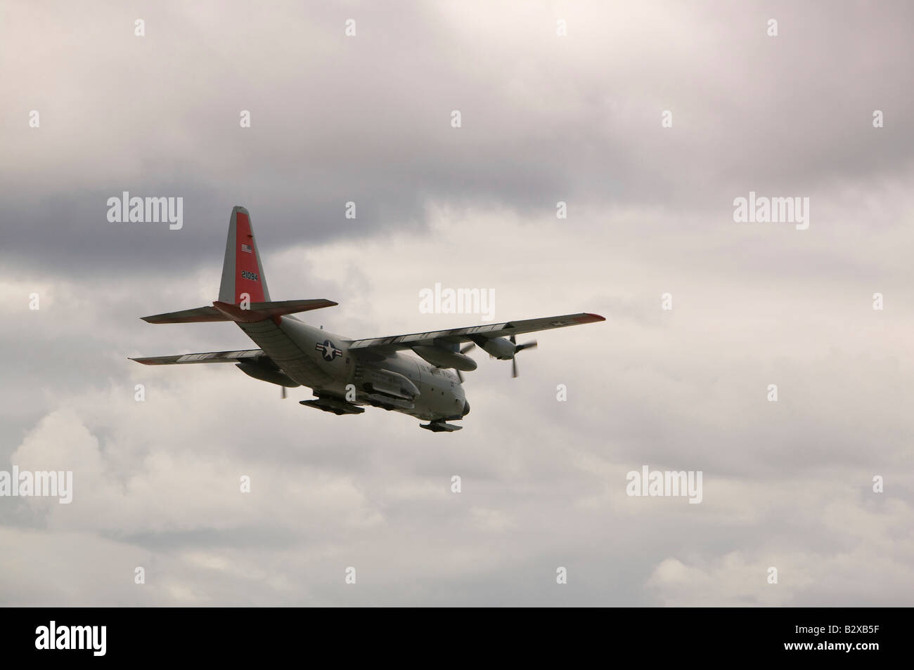 An American Air Force flight at Kangerlussuaq Airport on Greenland after a resupply flight to science base on summit - Stock Image