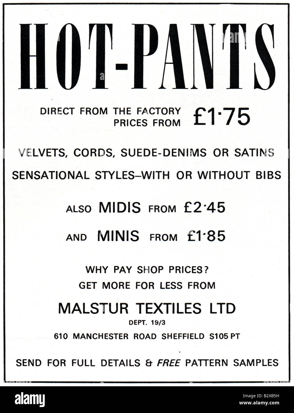 1971 advertisement for Hot Pants Hot-Pants. FOR EDITORIAL USE ONLY - Stock Image