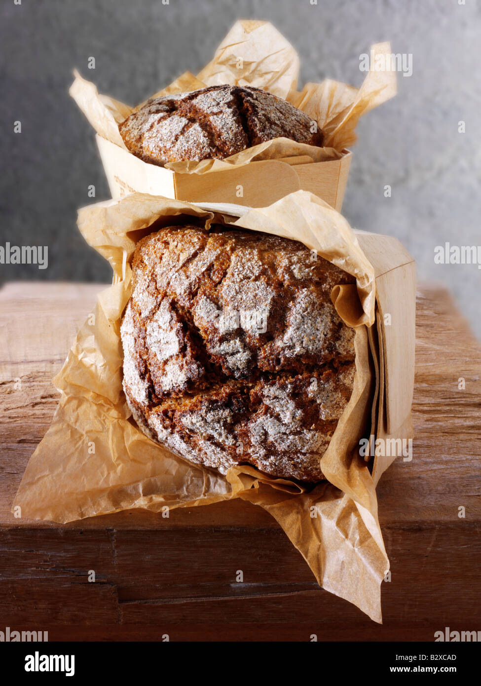 loaves of Artisan Rye bread - Stock Image
