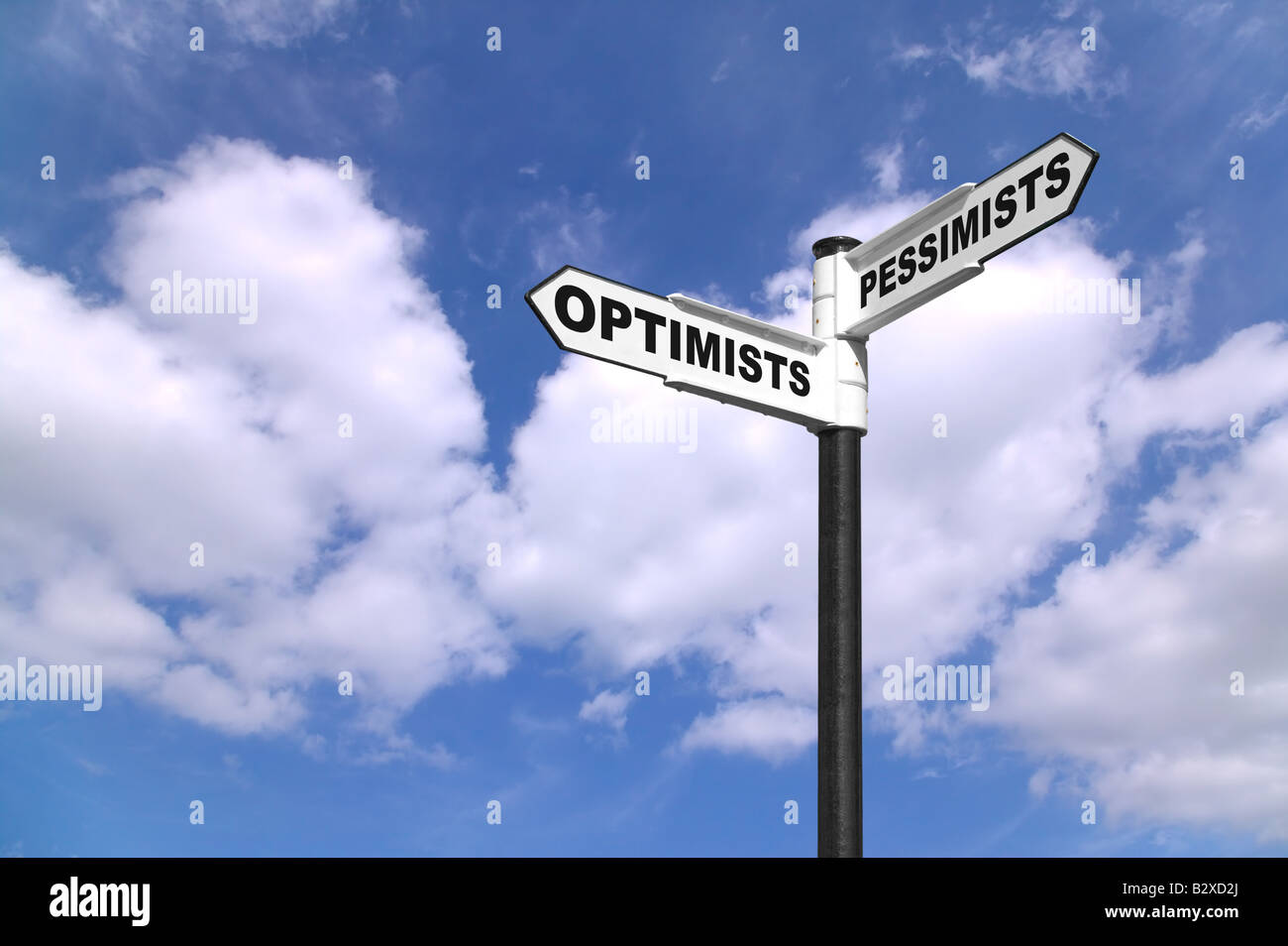 Concept image of a signpost for Optimists and Pessimists - Stock Image