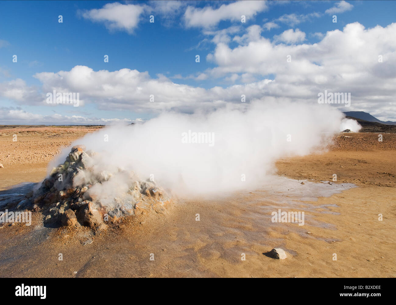 Geothermal steam vent in Iceland, Europe, horizontal - Stock Image