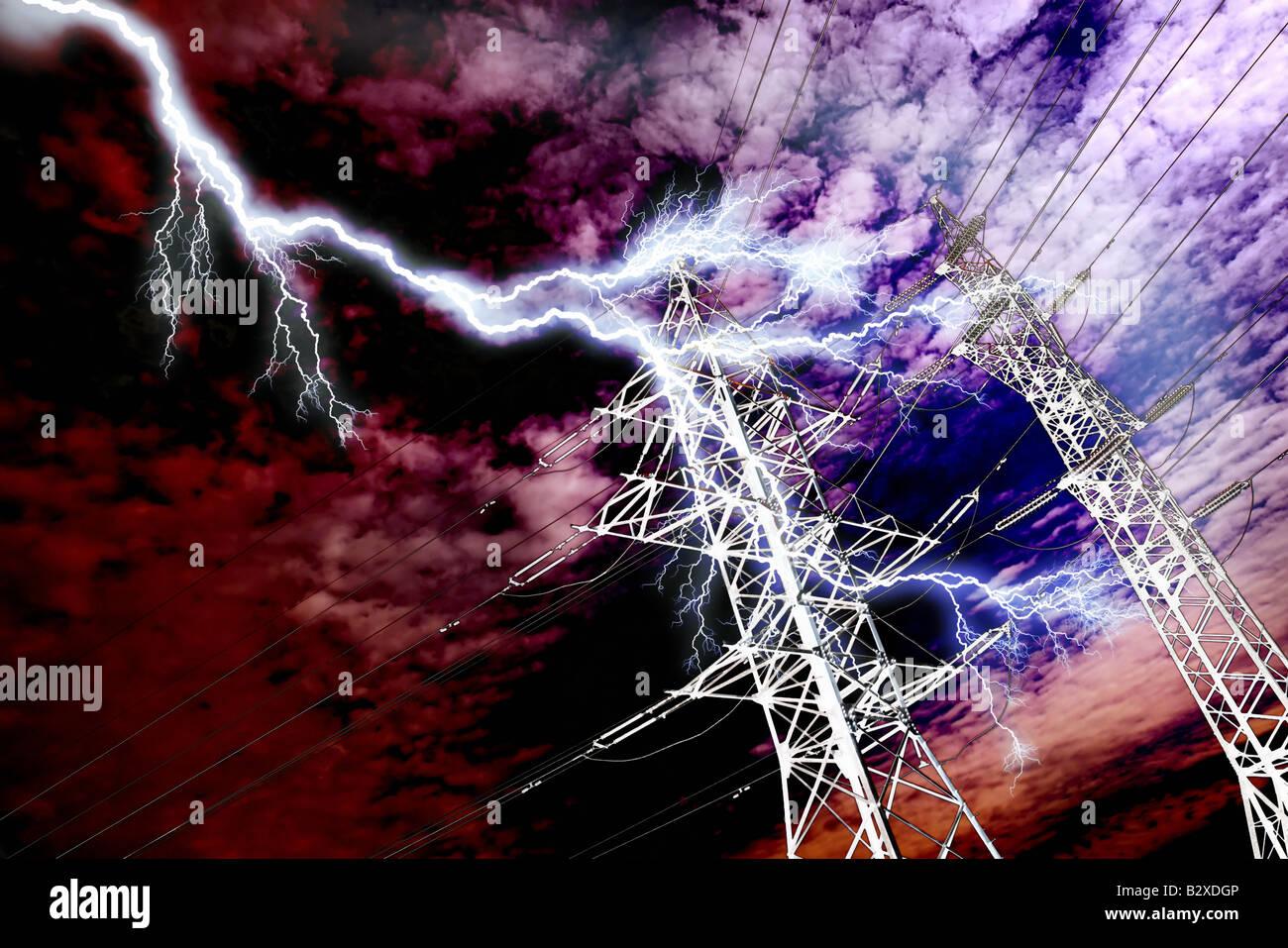 Lightning strike to high voltage power line pillar - Stock Image