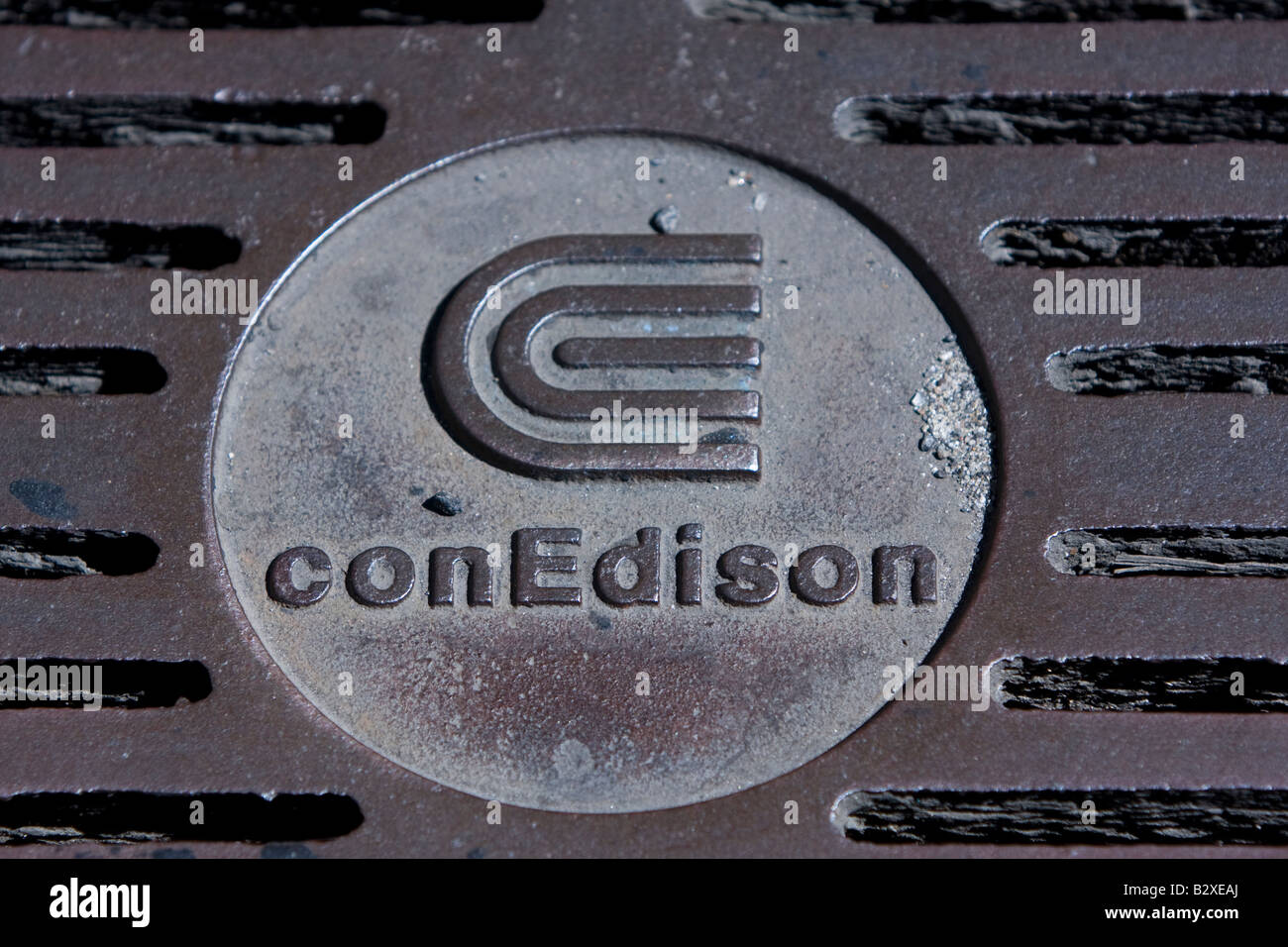 A Consolidated Edison manhole cover in Manhattan, NY - Stock Image