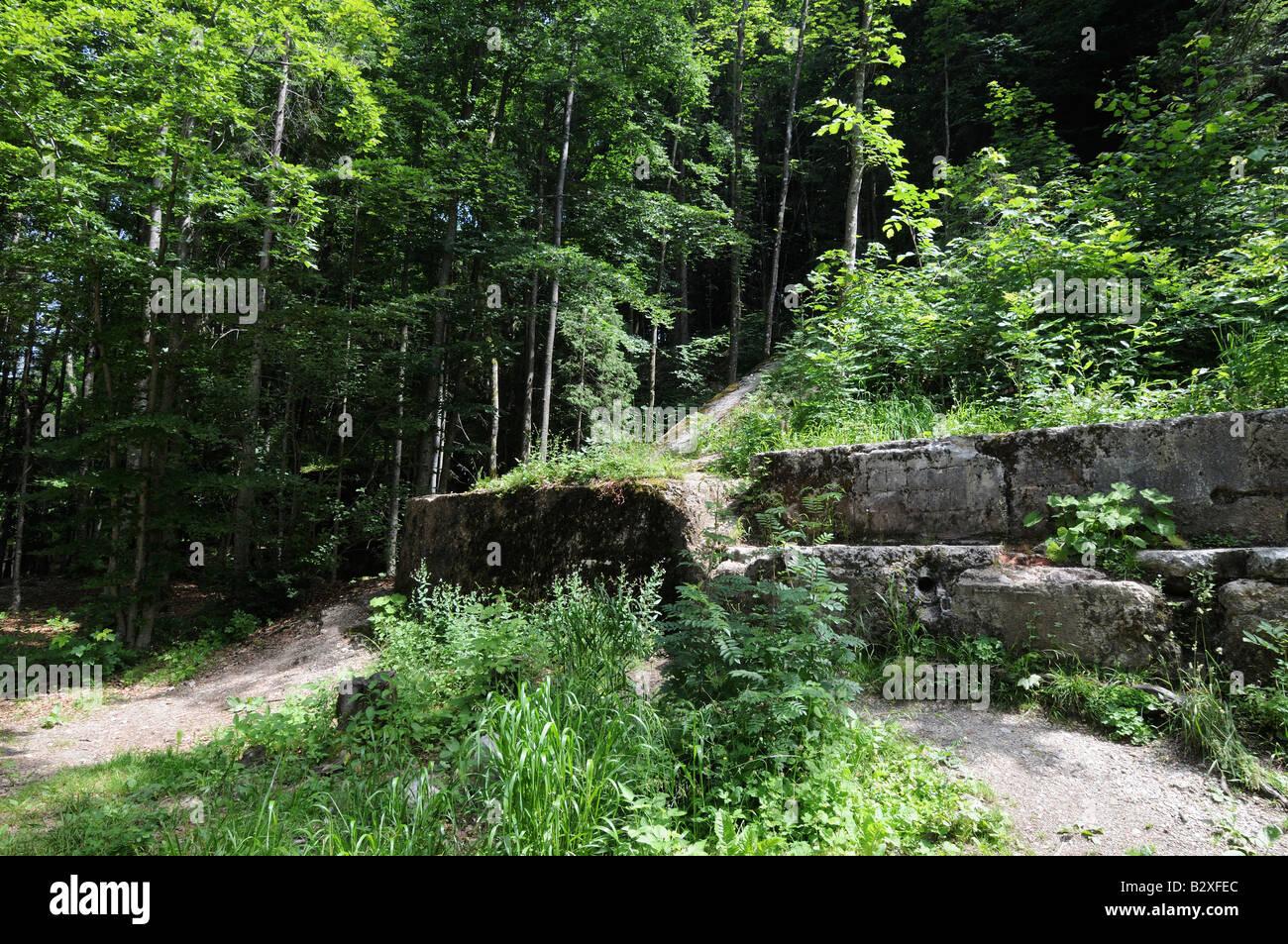 Ruins of Hitler's Berghof mountain retreat, Obersalzberg, Bavaria, Germany - Stock Image