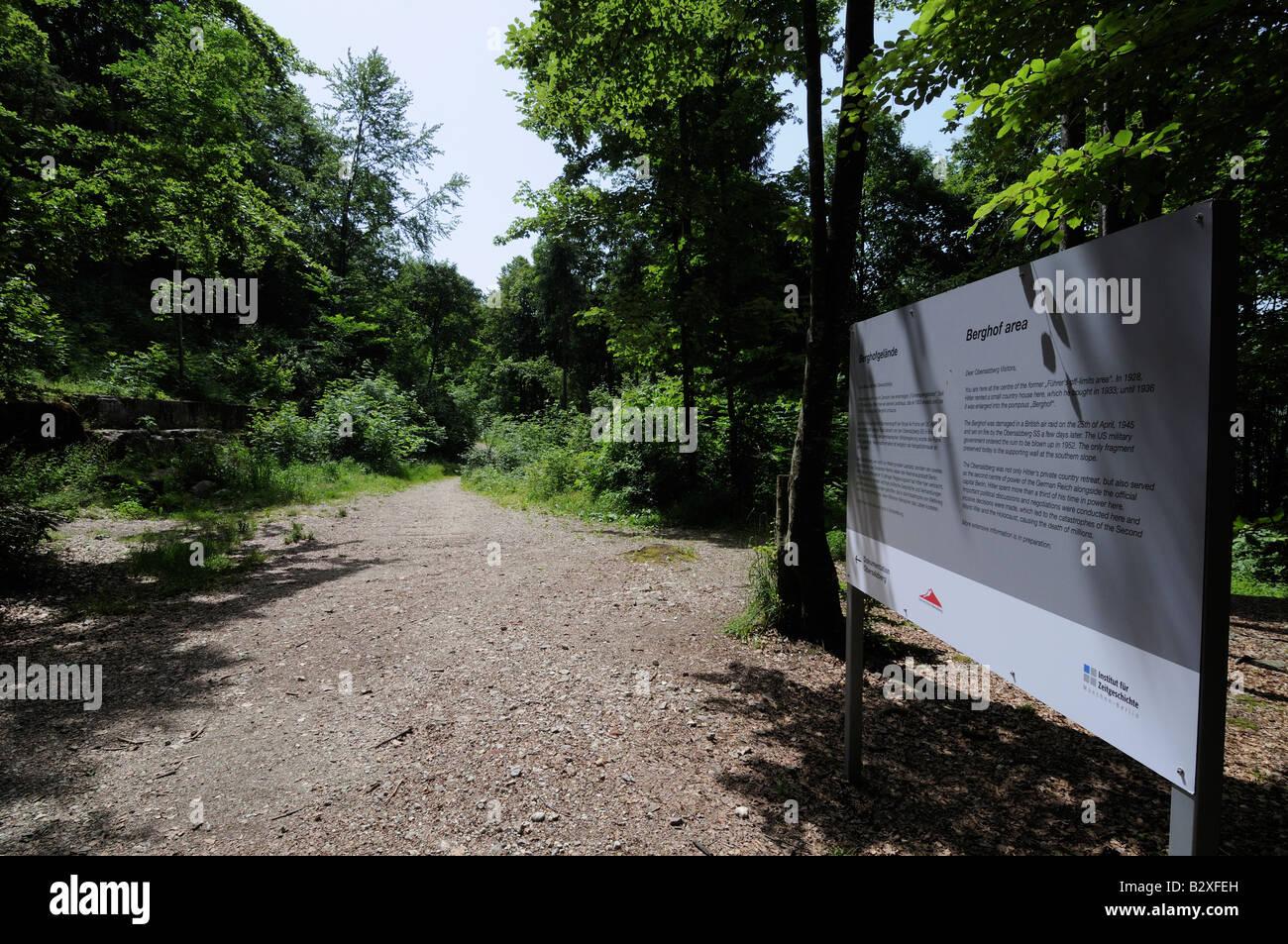 Sign marking the ruins of Hitler's Berghof mountain retreat, Obersalzberg, Bavaria, Germany - Stock Image