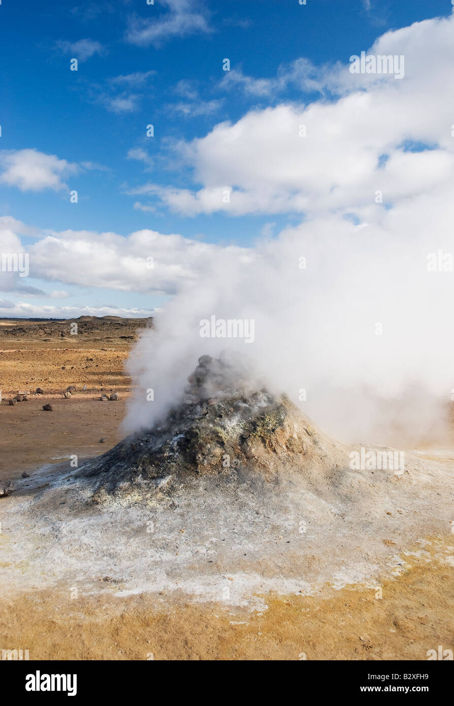 Geothermal steam vent in Iceland, Europe, vertical - Stock Image
