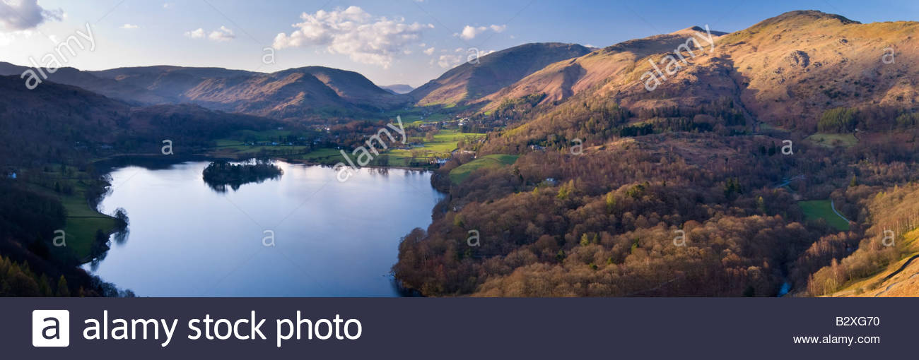 Panoramic view of Grasmere from Loughrigg Fell, Lake District National Park, England - Stock Image