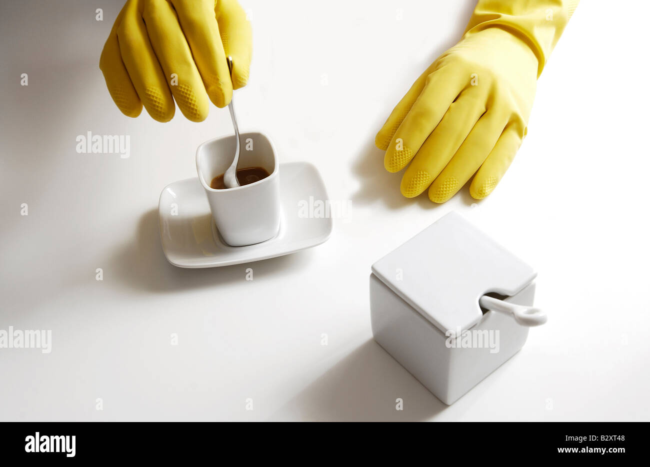household cleanliness, coffee break - Stock Image