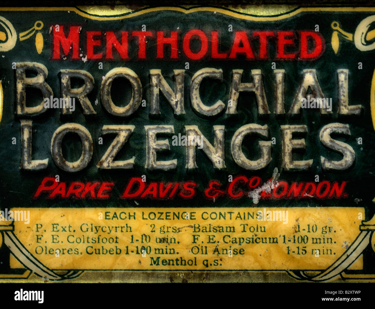 Old Tin of Home Medicine . FOR EDITORIAL USE ONLY Stock Photo