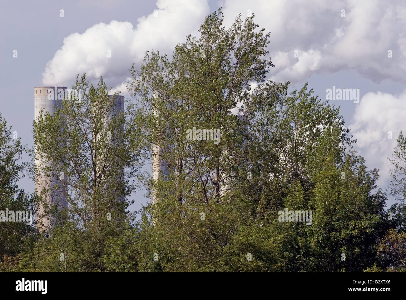 Smoke rising above trees from the Frimmersdorf coal-fired power station, Grevenbroich, North Rhine-Westphalia, Germany. - Stock Image